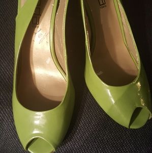 Lime Green patent leather sling back